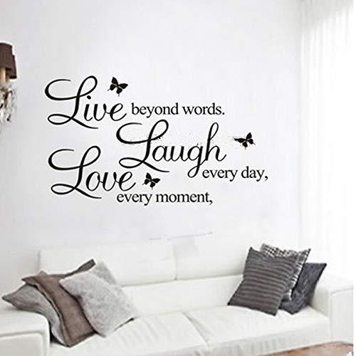 Wandtattoo Wandsticker Wandaufkleber,leben lachen liebe zitate wandtattoos einrichtungsgegenstände abnehmbare diy wandaufkleber 50x70cm (Leben Lachen Liebe Weiß)