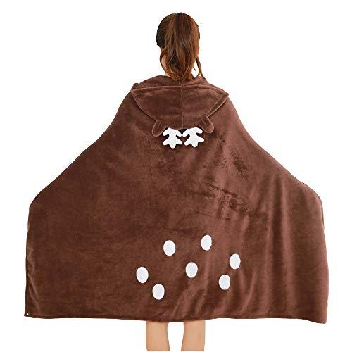 LXIANGP Couverture de châle, Wapiti Cartoon Maison Homme Manteau Flanelle de Couverture pour Le climatiseur Manteau épaissi