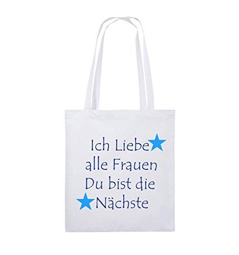 Comedy Bags - Ich liebe alle Frauen du bist die Nächste - Jutebeutel - lange Henkel - 38x42cm - Farbe: Schwarz / Weiss-Neongrün Weiss / Royalblau-Hellblau