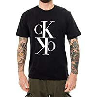 Calvin Klein Men's MIRRORED MONOGRAM REG S/S T-Shirt, Black, X-Large