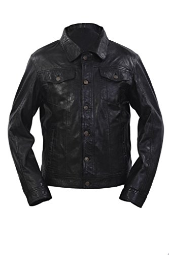 a8bc4b9b7bd5a Trucker casual in pelle nera camicia jeans Giacca da uomo