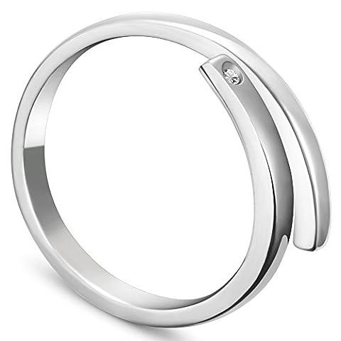 Sweetiee Mode-Stile Sterling Silber Manschette Ring, mit Mikro pflastern 5 einem Zirkonia, Platin, 18 mm