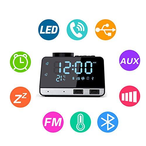 Flightbird Bluetooth Despertador Radio, FM 4.2 Pulgadas Reloj Digital Alarma con Dual USB Puertos Pantalla...