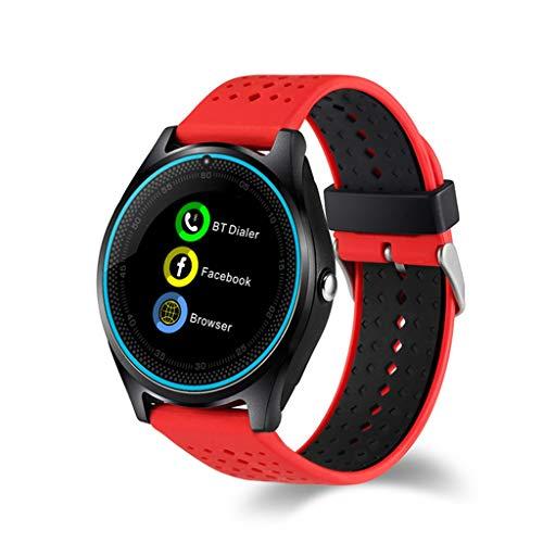 WJSEIF Sportuhr Sport Smart Uhr mit Kamera Bluetooth-Unterstützung TF SIM-Karte Schrittzähler MP3 Clock Sport Android Smartwatch, rot -