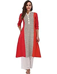 Pistaa Coral & Pink Striped Kurta With Plus Size