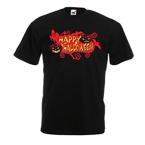 Männer T-Shirt Owls, Bats, Ghosts, Pumpkins - Halloween outfit full of Spookiness (Medium Schwarz Mehrfarben) (Moderne Zigeuner Kostüm)