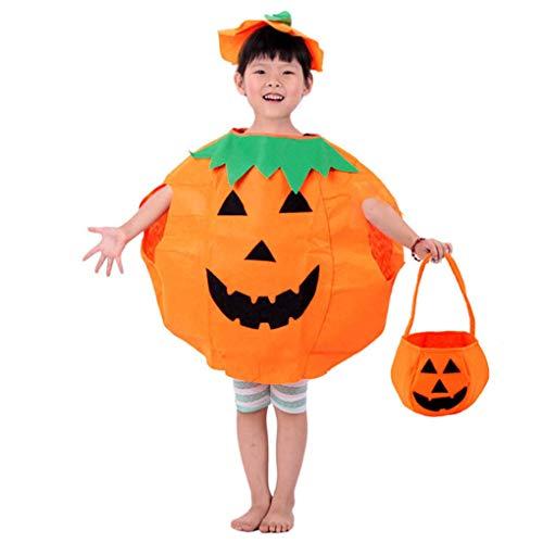 Ruiboury Halloween-Kind-Kostüm Kürbis Kleidung 3D-Einkaufstasche Hut Mantel Mantel Top Stage Performance Bluse