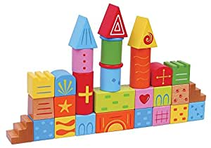 Lelin Wooden Wood Fantasia Colourful Building Stacking Bricks Blocks 30 Pieces