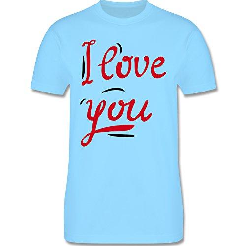Valentinstag - I Love You Motiv groß - Herren Premium T-Shirt Hellblau