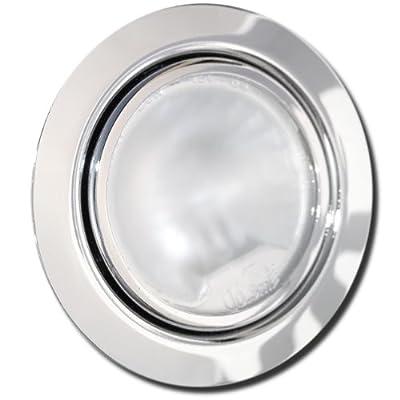 Möbel Einbaustrahler 12Volt inklusive 20W Halogen Leuchtmittel, Kabel und AMP Stecker - Farbe: Chrom - Dimmbar