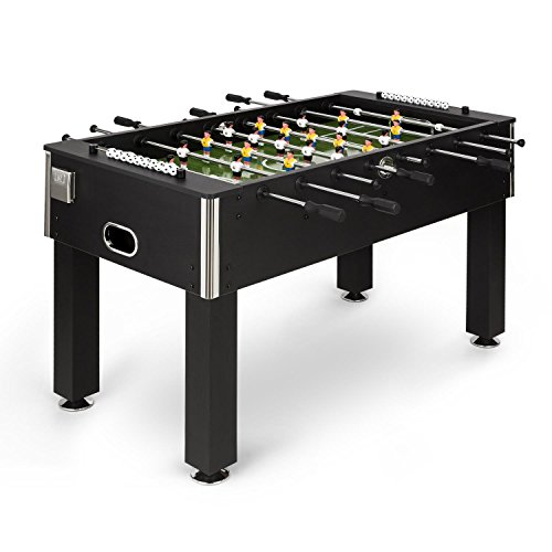 Klarfit Maracanã Table Football Table Kicker Table Games Tournament Size 118 x 68 cm Smooth-running Rods Edge Protection Drink Holder Height-adjustable Foot Construction Chrome Material: MDF Black
