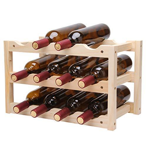 DX XD Weinregal 12 Flaschen Kiefer Freistehende Aufsatz-Weinregale Tisch-Weinlagerhalter Ständer, Holzfarbe, 46x24x28cm -