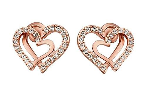 Epinki, 18K Gold Plated Double Love Heart Shape Cubic Zirconia Stud Earrings, Rose Gold, Women