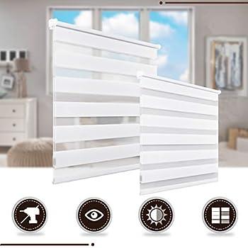 Store Enrouleur Jour Nuit Sans Perçage Blanc 40 X 150 Cm 2 Types