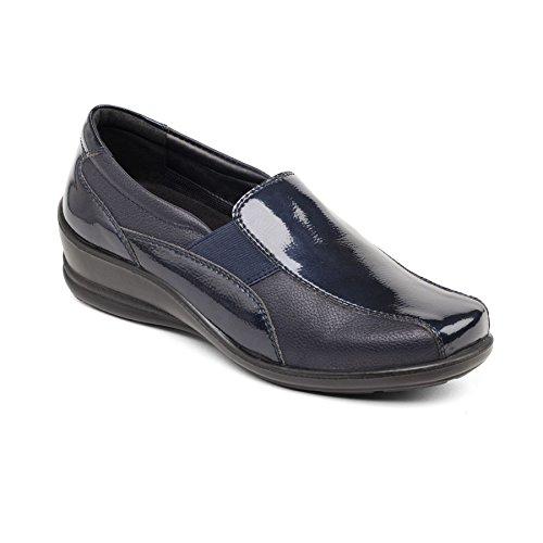 Padders Femmes Chaussure en Cuir Skye | Système dajustement dual pour un ajustement plus grande possible | Grande Taille E-EE | Talon 35mm | Avec Chausse-Pied Gratuit Marine / Combi