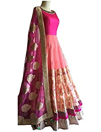 Mira Creation Women's Banglory Silk & Georgette Pink Embroidery Salwar Suit (Size : Free)