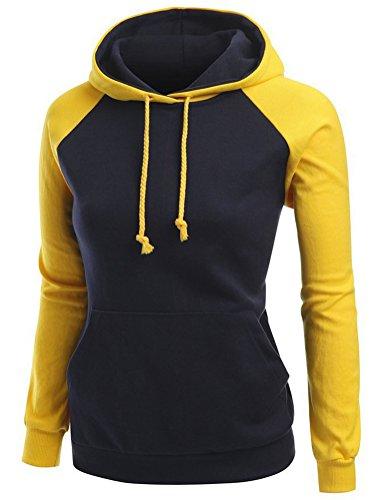 Brinny Dames Casual hoodies Veston sweat à capuche à manches longues pour hiver Noir+Jaune