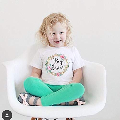Sommer-Baby-Mädchen mit kurzen Ärmeln Letters Blumen-Drucken-runde Kragen-T-Shirt Ärmel Runde-shirt