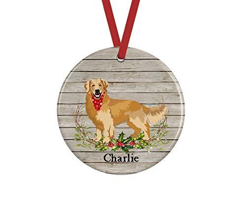 prz0vprz0v Golden Retriever Christmas Ornament, Personalized Dog Memorial Gifts Keepsake, 3