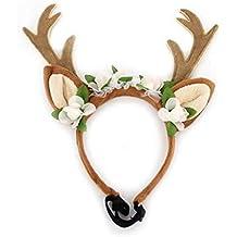 SODIAL Gorra Sombrero de Reno Cornamenta de Alce Perro Trajes de Disfraz de  Navidad para Perro c8262c623b1b