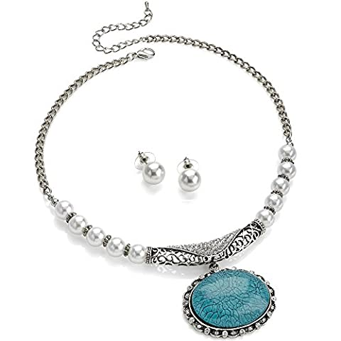 Vintage antique silver faux pearl and turquoise stone jewellery set
