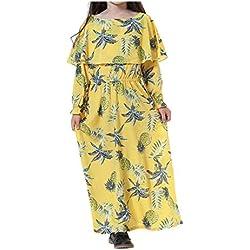 Hzjundasi musulmán islámico Chicas del sudeste asiático Abaya Maxi Vestido - Longitud Completa O-Neck Manga Larga Patrón de piña Ruffle Estilo Hawaiano Kaftan