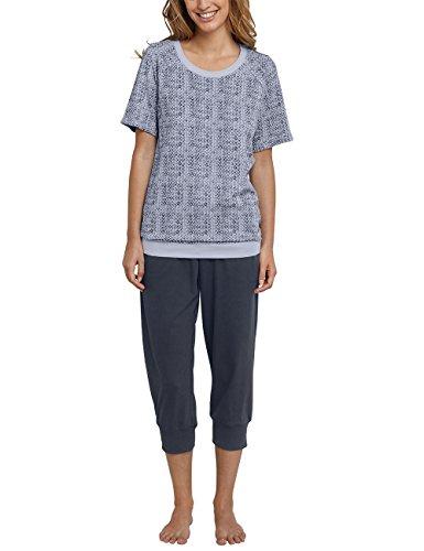 Schiesser Damen Zweiteiliger Schlafanzug Anzug 3/4 Lang, Grau (Graublau 209), 36 (3/4 Schlafanzug Ärmel)