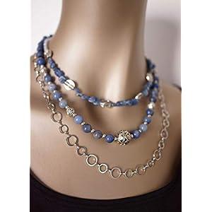 Dreireihige Designerkette mit blauem Aventurin, Aquamarin Splittern, tibetanischen Metallperlen