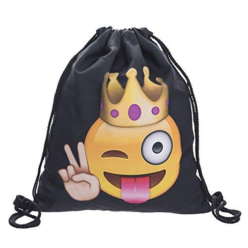 929fa5349f13c Beutel Turnbeutel King Emoticon Emoji Smiley Beuteltasche Hipsterbag Gymsack  Festival (Schwarz)