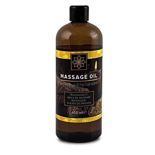 DELUXE Massage-Öl (650 ml) mit dem Duft von Zitrusfrüchten und Kräutern, Öl für Körpermassagen, für Paare, Intim-Massage -