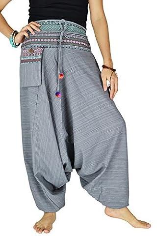 Damen Haremshose Pumphose Aladinhose Handarbeit Baumwolle Yoga Einheitsgr??e (Venedig Karneval Kostüme Uk)