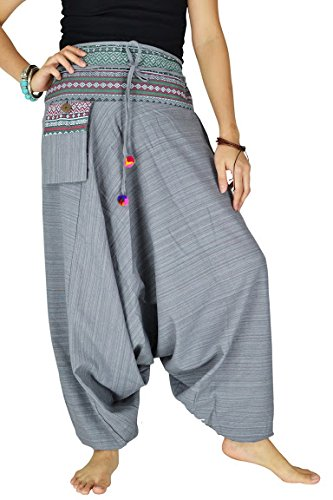 Damen Haremshose Pumphose Aladinhose Handarbeit Baumwolle Yoga Einheitsgr??e