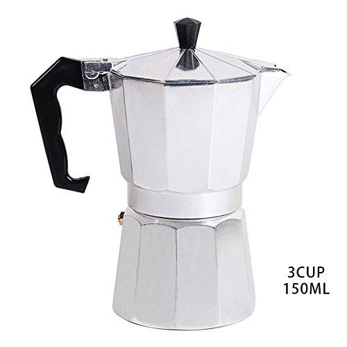 Espressokocher aus Aluminium, für 1 Tasse/3 Tassen/6 Tassen/9 Tassen/12 Tassen italienische Herdplatte/Mokka Espresso-Kaffeemaschine/Percolator-Topf-Werkzeug 150ML/3cup