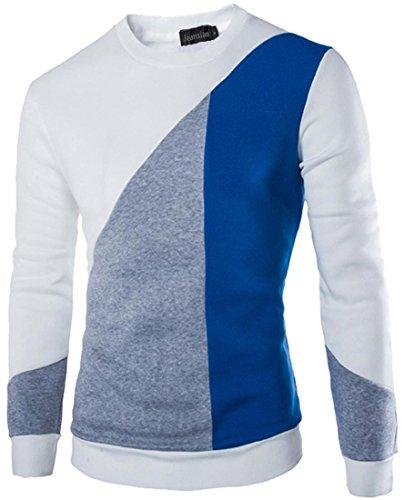 jeansian Uomo Moda Incantesimo Colori Maglione Pullover Sportivo Maglione Sweater 88N5 White