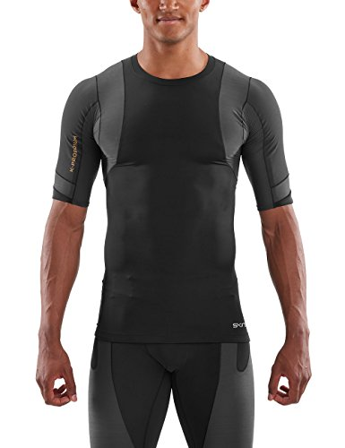 Skins Herren DNAmic Ultimate K-Proprium Posture Short Sleeve Top, Black/Charcoal, L - Aktiv Short Sleeve Top