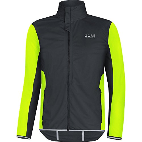 GORE WEAR Herren Essential Windstopper (Softshell) Light Jacke, Schwarz/Neon Gelb, XXL