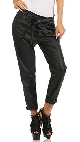 Fashion4Young 5324 Casual Damen Hose Bundfaltenhose Business Lederimitat Damenhose Regular Fit (schwarz, L-40)