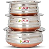 HAZEL Copper Bottom Kadai Urli with Lid - 3 Pcs Set