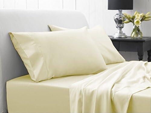 Bedding- egiziano 600 thread count set 6PC Sheet set count UK singolo avorio crema solido 100% cotone egiziano 761325