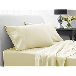 600-hilos AviSales 45,72 cm con bolsillo pulgada{0} Euro rey IKEA sábana bajera para cama crema marfil de 100% algodón egipcio 600tc