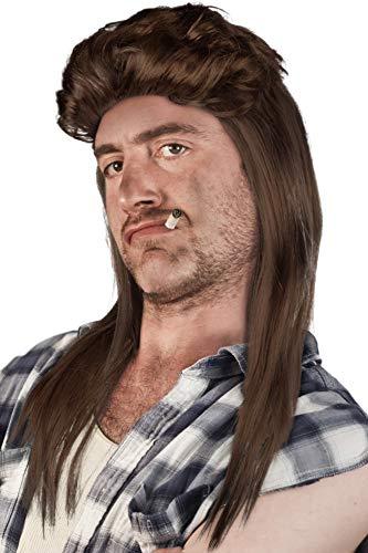 Glatze Mit Männer Kostüm - Prollperücke Vokuhilaperücke Proll Perücke Pimp Vokuhila Blond Brünette Grau Schwarz (Braun)