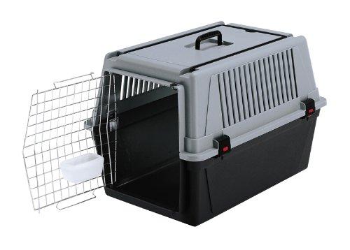 Feplast 73011021 Transportín para Perros de Talla Media Atlas 40 Professional, Puerta de Acero Plastificado, Sistema de Cierre de Seguridad, Rejillas de Ventilación, 68 x 49 x 45.5 Cm Gris
