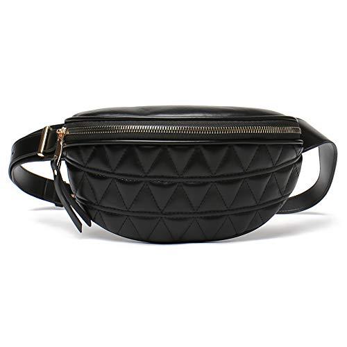 Geagodelia Bauchtasche Gürteltasche für Damen Mädchen Stylische PU Hüfttasche mit Verstellbarer Gurt für Reise Wandern Outdoor Festival FB18061 (Schwarz 02)