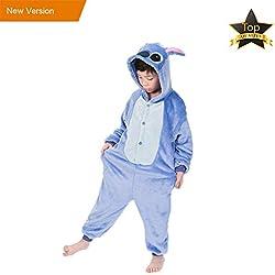 JunYito Pijama Animale Niños Niña Adulto Mujer Invierno Kigurumi Stitch Disfraz Cosplay Halloween y Navidad(140, Stitch