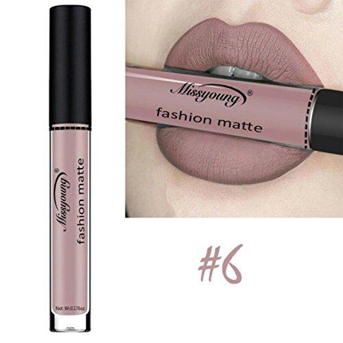 Lippenstifte Matt SOMESUN Damen Flüssige Lippenstift Feuchtigkeitscreme Samt Lippenstift, Langlebig, Kiss Proof, wasserdicht (#6)