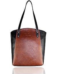 Fargo Motley PU Leather Women's & Girl's Tote Handbag (Brown,Black_FGO-009)