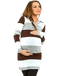 Happy Mama Femme Maternité Robe pull de grossesse. Rayures variées. 405p