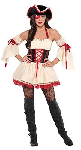 Pirat Freibeuter Versand Kollege 4 Stück Karneval Festival TV Buch Film Junggesellinnenabschied Kostüm Kleid Outfit UK 8-16 - UK 8-10 ()