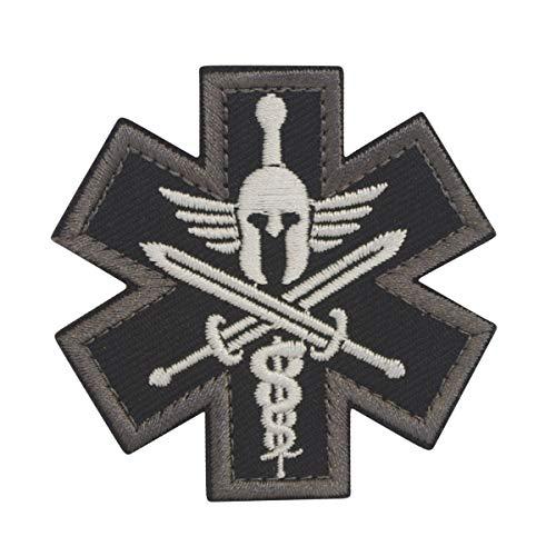 Cobra Tactical Solutions Military Besticktes Patch Black Molon Labe Star of Life/Stern des Lebens Medic mit Klettverschluss für Airsoft/Paintball für Taktische Kleidung/Rucksack