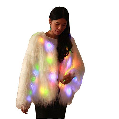 Ohlees® Damen LED Light up Kostüme Shining Winter Kleider Faux Pelz Kunstpelz Mäntel Westen (L, Mäntel-1) (Pelz Mantel Jacke Weste)